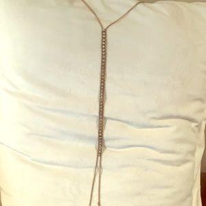 Lariat long gold & sparkle necklace